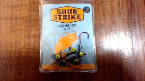 ShurStrike Shur Strike SSJH18-BLK Jighead, 1/8 oz, Red Hook, Black, 5/Pack?>