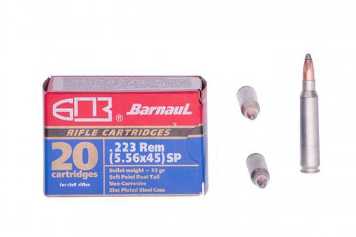 Barnaul .223 Rem 55GR SP Zinc Plated Steel Case -20/box?>
