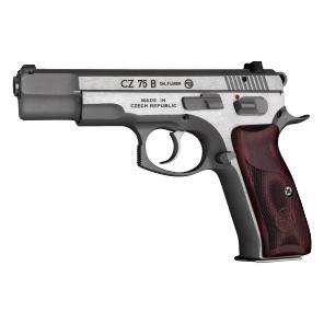 CZ 75 S.S. Semi-Auto Pistol, 9MM, 4.5''Bbl, New Edition S.S.Frame, WoodGrip, 10Rnd,SA/DA,TritiumSights,Decocking+ManuSafety?>