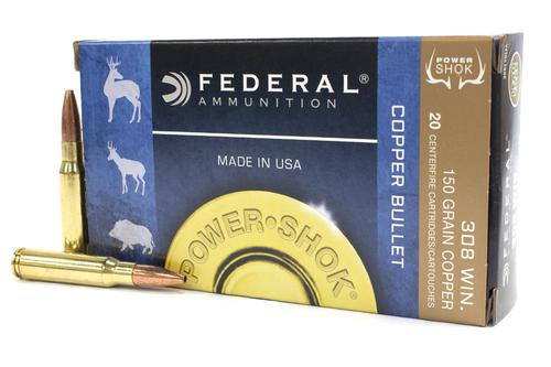 "FEDERAL 308WIN 150GR ""COPPER BULLET"" Hollow Point Power-Shok 20/Box  LEAD FREE?>"