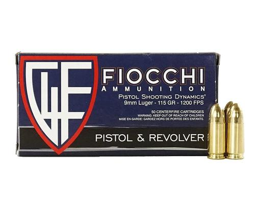 FIOCCHI Brass Cased 9mm 115Gr FMJ Ammunition 50rs/Box?>