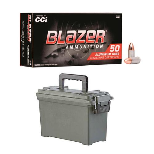 CCI Blazer 9mm Aluminum 124 gr FMJ 500RS/Case + AMMO CAN?>