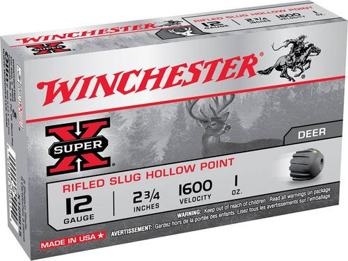 WINCHESTER Winchester  Super-X Rifled Slugs 12 GA, 2-3/4 in, 1 oz, 1600 fps, 5 Rnd per Box?>