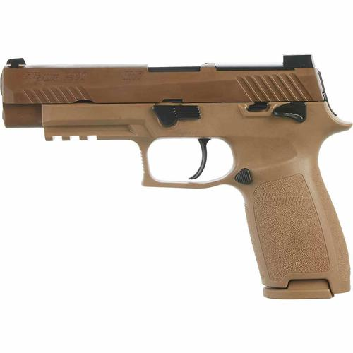 Sig Sauer P320 M17 w/Manual Safety 9mm 4.7″ BRL Coyote Tan 3Mags?>