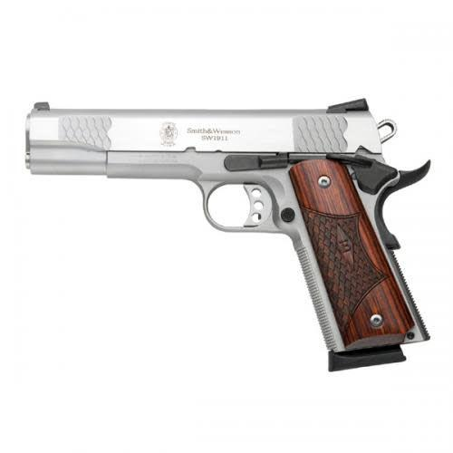 Smith & Wesson Smith & Wesson 1911 Pro Series Auto Pistol 9mm 5'' S/S 10Rd AS Wood Grips State Laws Apply?>