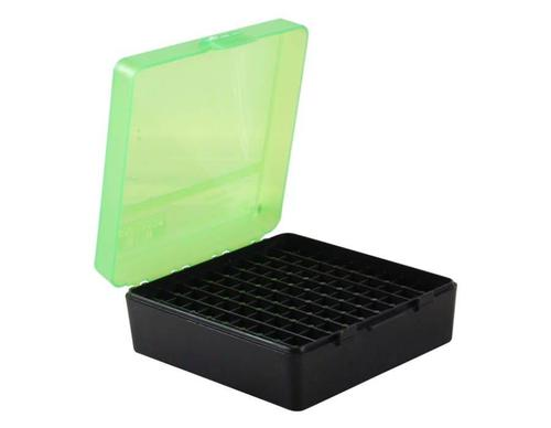 MTM Flip-Top Ammo Box, 38/357, 100-Round, Black/Green?>