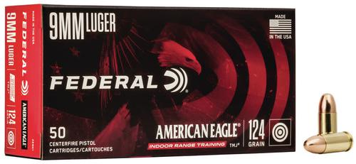 Federal  American Eagle Pistol Ammo  9 mm 124gr FMJ 1000RS/Case?>