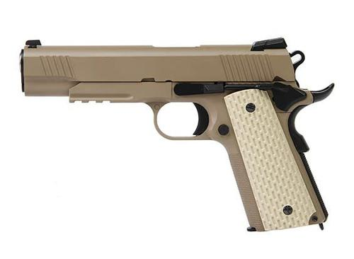 we Kimber 1911 type TAN with extended barrel and silencer?>