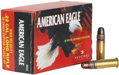 Federal AE 22lr American Eagle Rimfire Rifle Ammo 22 LR, Copper Plated HP 38 Grains, 1260 fps, 400 Rounds, Boxed?>