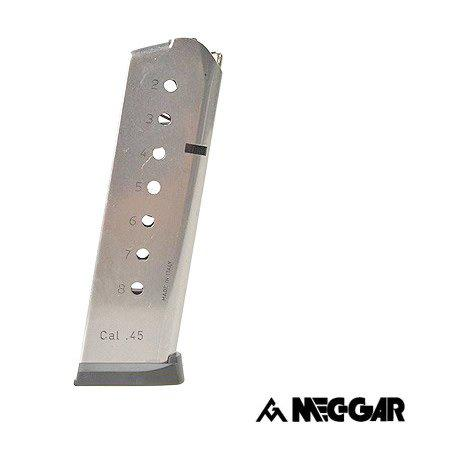 Mec-Gar Meg-Gar 1911 with Plastic Removable Puttplate and Follower .45ACP 8 High Cap Nickel?>