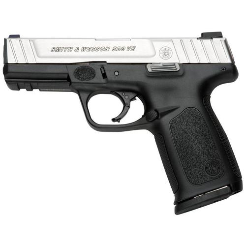 Smith & Wesson Smith & Wesson SD9 VE Semi Auto Pistol 9MM, 4.25 in, Poly Grp 10+1 Rnd, Wht Dot Front/2-Dot Fixed Rear, Self Defense Trgr?>