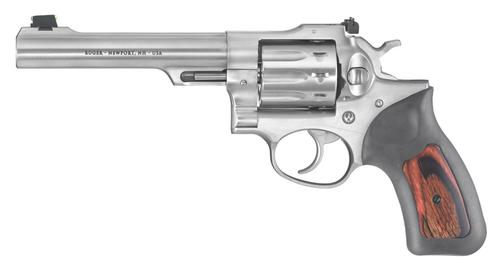 "Ruger GP100 Rimfire Revolver .22LR 5.5"" 10 Shot Rubber/Wood Grips Satin Stainless Finish 1757?>"
