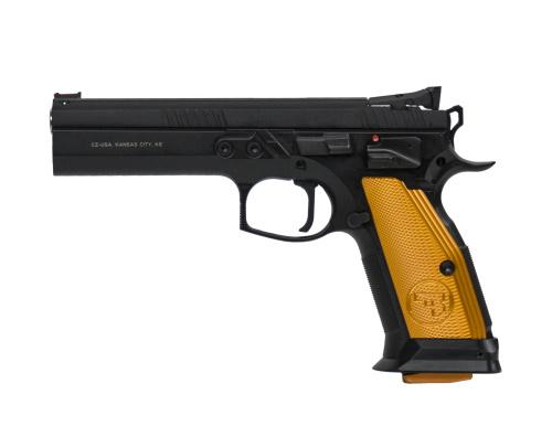 CZ  TS Orange Semi-Auto Pistol, 9MM, 5'' Bbl Black Steel Frame, Orange Aluminum Grip, 10 Rnd, SA, Adj Sights, Manual Safety?>