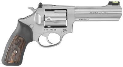 Ruger Ruger  SP101 Revolver 357 MAG 4.2 in, Rubber Engraved Wood Grp, 5 Rnd, Std Satin Stainless Frame, Combat Trgr?>