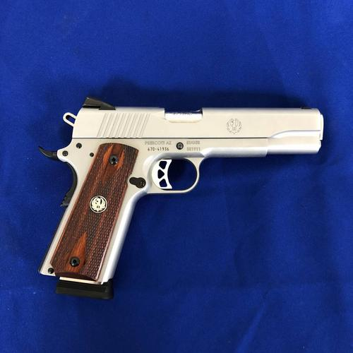 Ruger Ruger SR1911 .45 ACP 5'' Barrel, Hardwood Grips, Low Glare Stainless Steel Finish?>