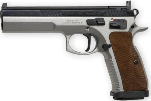 CZ 75 TS Semi-Auto Pistol, 40 S&W, 5'' Bbl Steel Frame, Wood Grip, 10 Rnd, SA, Fixed Sights, Manual Safety?>