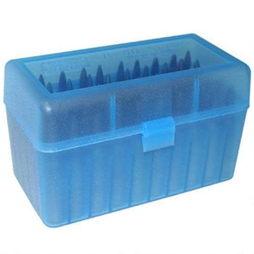 MTM RS-50 Series Small FlipTop Rifle Ammo Box, 50 Rounds, Clear Blue?>