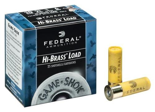 "Federal Game-Shok 20 Ga 2.75"" #4 Hi-brass lead  1oz 25 Rounds 1220fps?>"