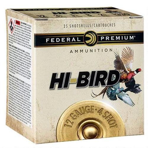 "Federal Federal Premium Hi-Bird 12GA. 2-3/4"" #4 1-1/4oz Lead Shot 1330fps 25 Rounds?>"