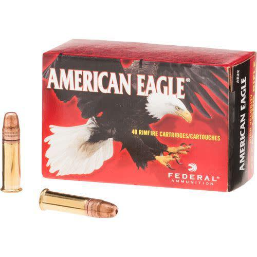 Federal Federal AE .22lr American Eagle Rimfire Rifle Ammo 22 LR, Copper Plated HP 38 Grains, 1260 fps, 40 Rounds, Boxed single?>