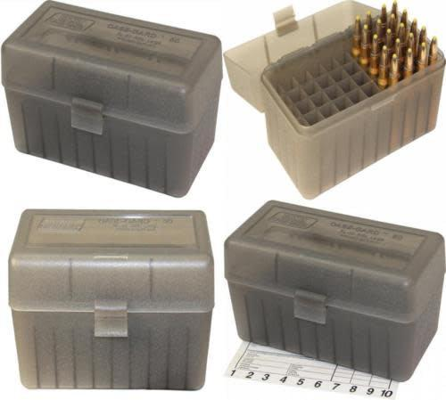 MTM Large Rifle FlipTop Ammo Box, Clear Smoke 50Rds Box?>