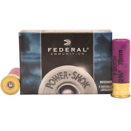"Federal Federal Power-Shok 16Ga. 2-3/4"" #1 Buck 12Pellets 5rds Box?>"