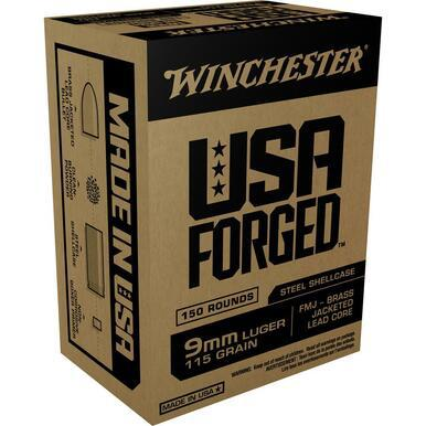 Winchester USA Forge 9mm 115gr FMJ Steel Case,  150 Rds?>