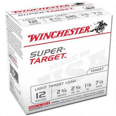 "Winchester Super Target 12 Ga 2 3/4"", 1 1/8 Oz #7.5 Lead, Case of 250 Rds?>"