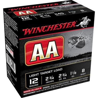 "Winchester AA Target 12 Ga 2 3/4"", 1 1/8 Oz #8 Lead Case of 250 Rds?>"