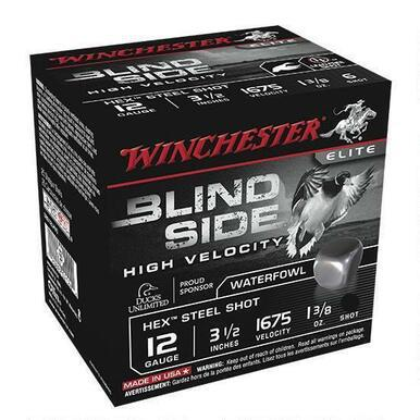 "Winchester Blind Side 12 Ga 3.5"" #5 Hex Steel 25 Rounds?>"