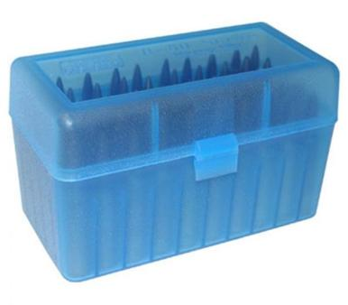 MTM 50 Round Flip Top Small Rifle Ammo Box, Clear Blue?>