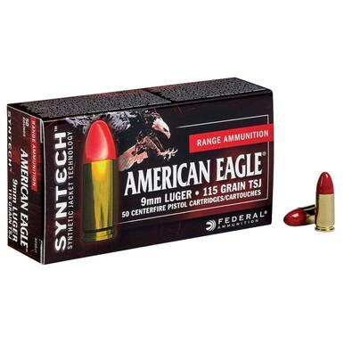 American Eagle 9mm Luger 115gr Total Synthetic Jacket, Box of 50?>