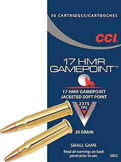 CCI 17 HMR Gamepoint 20gr Jacketed Soft Point Box of 50?>