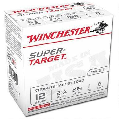 "Winchester Super Target 12 Ga 2 3/4"", 1 Oz #8 Lead, Case of 250 Rds?>"