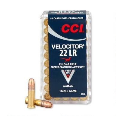 CCI 22LR 40gr Velocitor Plated Hollow Point Box of 50?>