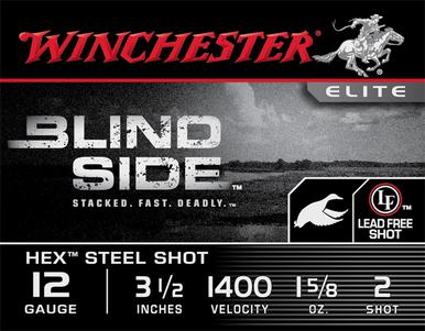 "Winchester Blind Side 12ga 3 1/2"" 1-5/8 oz #2 Steel, Box of 25?>"