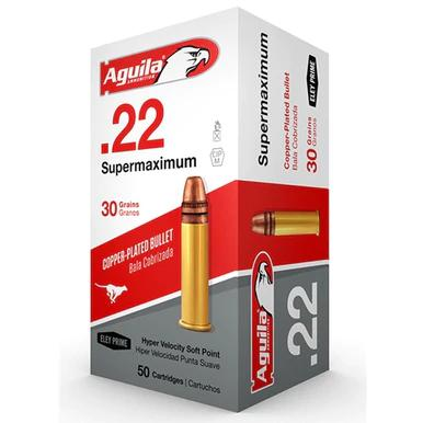 Aguila Super Maximum 22LR, Hyper Velocity, 30 Grain, Plated Lead Round Nose, 500rds?>