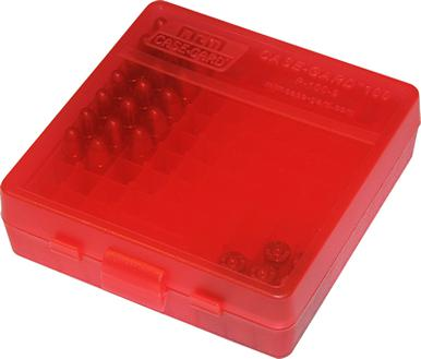 MTM 100 Round Flip Top 38/357 Ammo Box, Clear Red?>