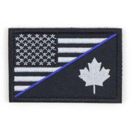 Canada/USA Combo Velcro Morale Patch with Thin Blue Line?>