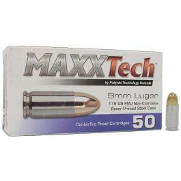 Maxxtech 9mm 115gr FMJ Steel-Cased 50rd. Box?>