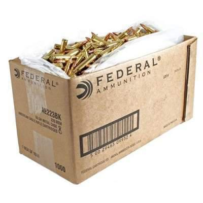 Federal American Eagle .223 Rem Ammunition  55 Grain Full Metal Jacket Bulk Case of 1,000 Round, AE223BK?>