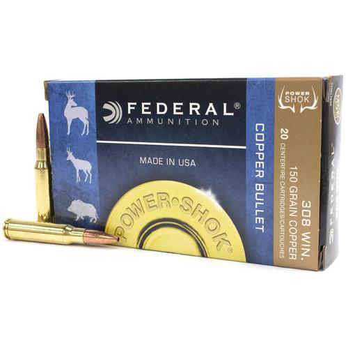 FEDERAL POWER-SHOK 308WIN 150GR LEAD FREE COPPER 308150LFA?>