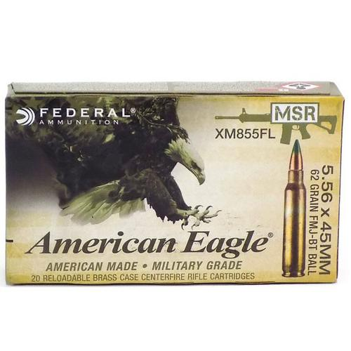 Federal XM Rifle Ammunition XM855FL, 5.56mm NATO, Full Metal Jacket, 62 GR, 20 Rd/Bx?>