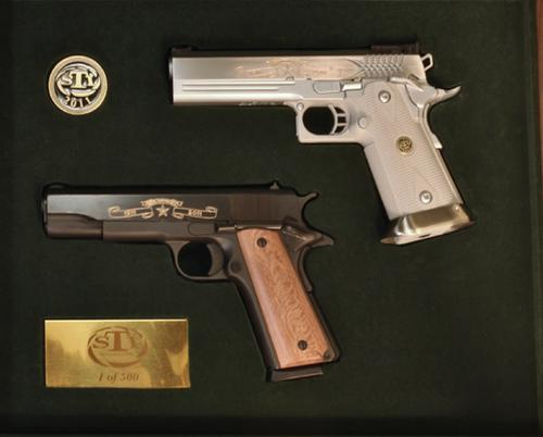 STI 100th Anniversary Special Edition, one STI 1911 and one STI 2011, 45 ACP, 088 of 500?>
