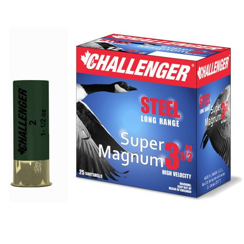 "CHALLENGER 12 GA Steel Super Magnum 3,5"" 1-1/2 oz, 3-1/2″ -1500 fps, box of 25 shot size #BBB 50200?>"
